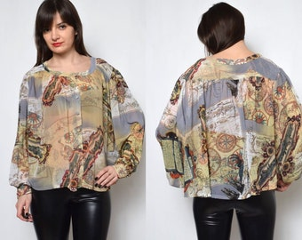 SALE___Vintage Sheer Map Print Button Up Blouse