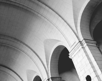 Union Station arches, Washington DC // Black and White Fine Art Photography // Square Photo Print