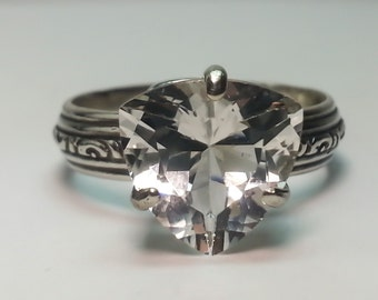 Goshenite Sterling Silver Ring Trillion Cut 2.8ct