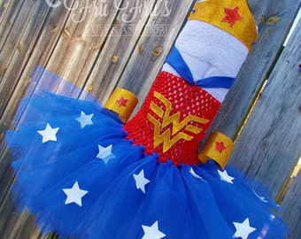 Wonder Woman TuTu Dress, Halloween Costume with Glitter Gold Crown and Arm Cuffs - Baby, Infant, Toddler and Girl's