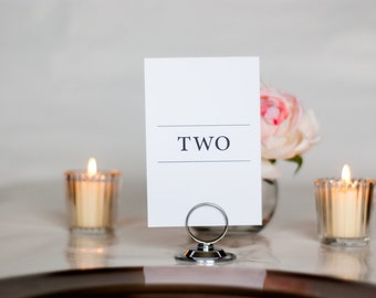 Simple and Minimalistic Wedding Table Numbers, Set of Table Numbers, Written Numbers, 4x6, 5x7, Tented, Folded