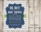 Printable Baby Boy Shower invitation. Gray chevron. green, blue and white.  Customized shower invitation, printable JPG file