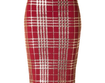 Plaid Metallic Pencil Skirt, Metallic Design Pencil Skirt, Lightweight holiday skirt, Midi Pencil Skirt, Navy Pencil Skirt, Red Pencil Skirt