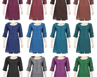 Indian Ethnic Cotton Full Sleeve Top Tunic Kurti Kurta Blouse Ladies Women's Dress - Short Length - Front Buttons - 16 colors - All Sizes