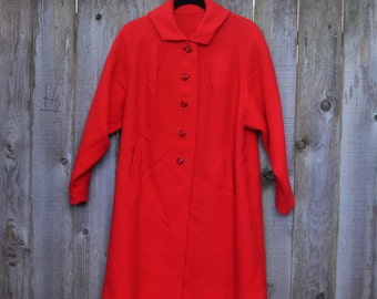 SALE! 1960s Vintage Mod Red Wool Coat *Small hole on sleeves