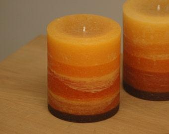 """Orange to Brown Layered Rustic Pillar Candle - 4 x 5"""""""