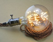 Fireworks LED UL socket Twisted Fabric Wire - ceiling Pendant or Wall plug - Antique Vintage Style light bulb - Edison light bulb Lamp