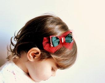 Headband/ bow/ elastic/ handmade/ baby girls/ christmas