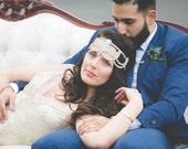 Bohemian, Headpiece - Wedding Headpiece, Romantic, Crystal Embellished, Bridal, Rhinestone Chain Headband - Suraya Headpiece