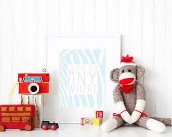 Wall Art Print | Children | Room | Nursery | Let's go anywhere