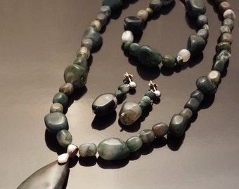 Chunky Moss Agate & Sterling Silver Jewelry Set