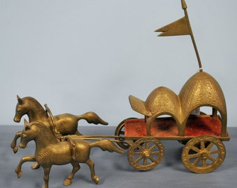Vintage Solid Brass Horse and Carriage