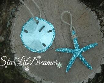 2 piece Glitter Ornament set