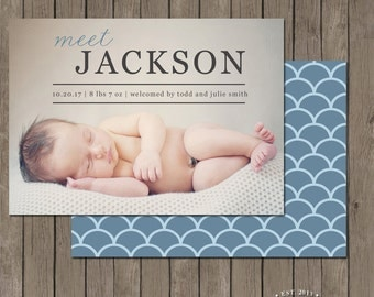 Printable Birth Announcement Photo Card - the Precious Gift Collection