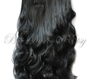 """22"""" Black Human Hair Clip in Extensions, Black Extensions, Clip in Hair, Hair Extensions, Full Head Extensions, Remy Hair"""