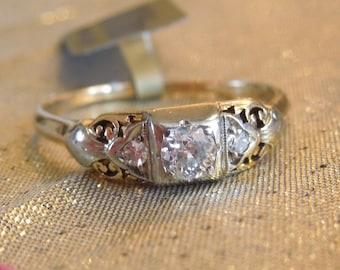 Edwardian Quarter Carat Yellow Gold and Platinum Engagement Ring