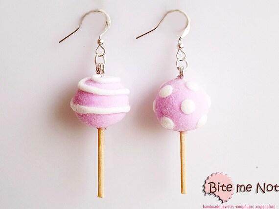 Food Jewelry Sugar Lollipop Earrings, Lollipop Jewelry, Miniature Food Earrings, Candy Earrings, Candy Jewelry, Food Charm