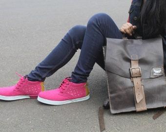 neon pink shoes US 8 women / EU 39 Marapulai handmade sneakers suede stars silver
