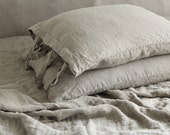 Linen  pillowcase with  small ties stonewashed   made by MOOshop.*16