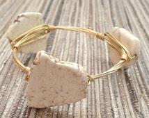 the CREAMY STONE bangle bracelet (tarnish resistant)--Bourbon and Bowties Inspired