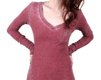 Burnout Thermal Long Sleeve V-neck Pocket Top