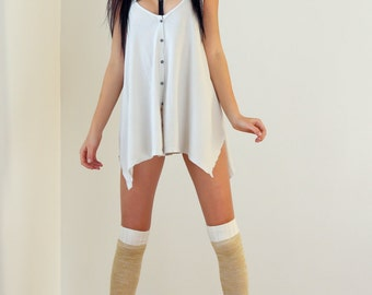Vintage Ivory Enzyme Washed Fit & Flair Cotton Tunic Tank