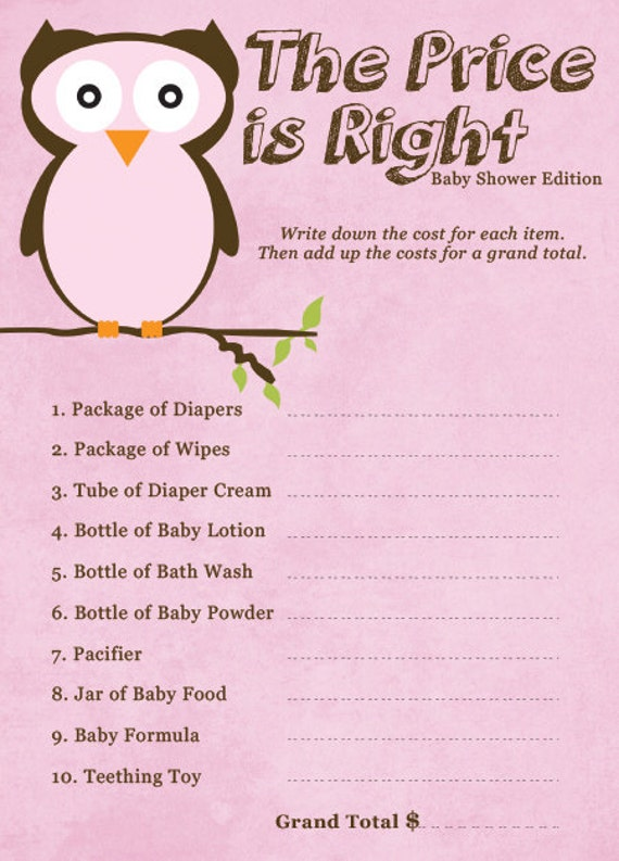 Items similar to The Price is Right - Baby Shower Edition ...