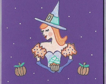Witchy Girl Halloween Card - Witch Halloween Card - Vintage Style Halloween Card