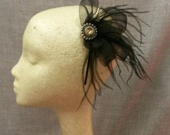 Art Deco Black Feather  Headband