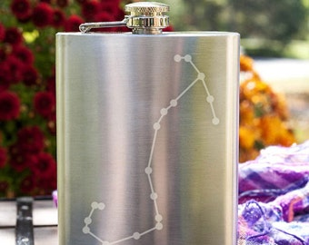 Scorpio Constellation Customizable Etched Stainless Steel Flask Barware Gift