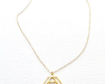 GEOMETRIC SYMBOL NECKLACE, urban necklace, triangle necklace, hexagon necklace, gold, silver geometric necklace, Christmas gift, N007