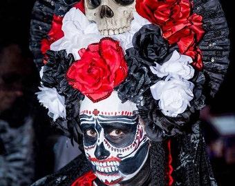 Goth Bride Los Muertos Sugar Skull Day of the Dead Headdress Headpiece with Veil