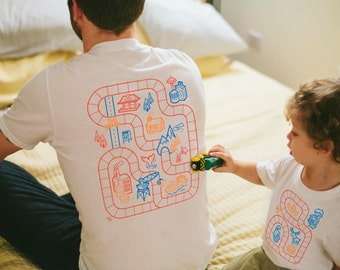 Father Son Matching Shirts, Dad and Son Matching Shirts, Train Track Shirts, From Son or Daughter, Gifts for Dad From Kids, Play Mat Shirts