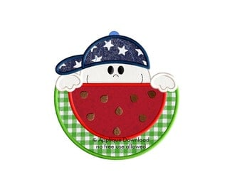 Cute Watermelon Boy Applique Design - Instant EMAIL With Download - for Embroidery Machines