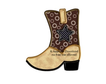 Cowboy Boot - 3 sizes - Western Applique Design - Instant EMAIL With Download