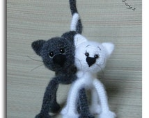 Cats in love, Black and White, OOAK, Stuffed Animal,s Crochet Soft toy decor, Amigurumi, Made to order