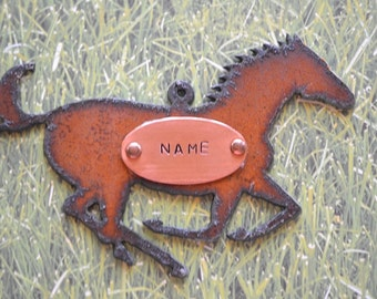 HORSE made of Rustic Rusty Rusted Recycled Metal Custom PERSONALIZED Running HORSE / Equestrian / Ornament or Magnet