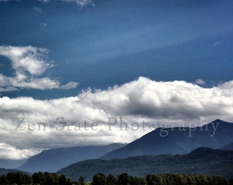Summer Landscape Photograph. Blue Green Art Print. Cloud Photo. Fine Art Nature Home Decor. Mountain Photography. Nature Photography.