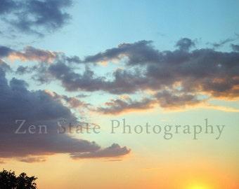 Summer Sunset Fine Art Nature Photography. Romantic Sunset Pink, Peach, Yellow, Orange Wall Decor. Dreamy Blue Cloud Photograph Beach Decor.