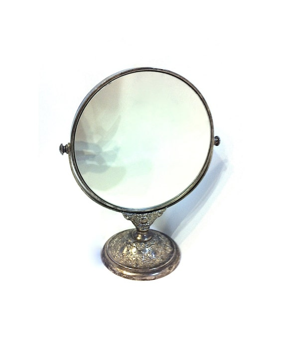Vintage round mirror with stand double sided by foureverseven for Antique vanity with round mirror