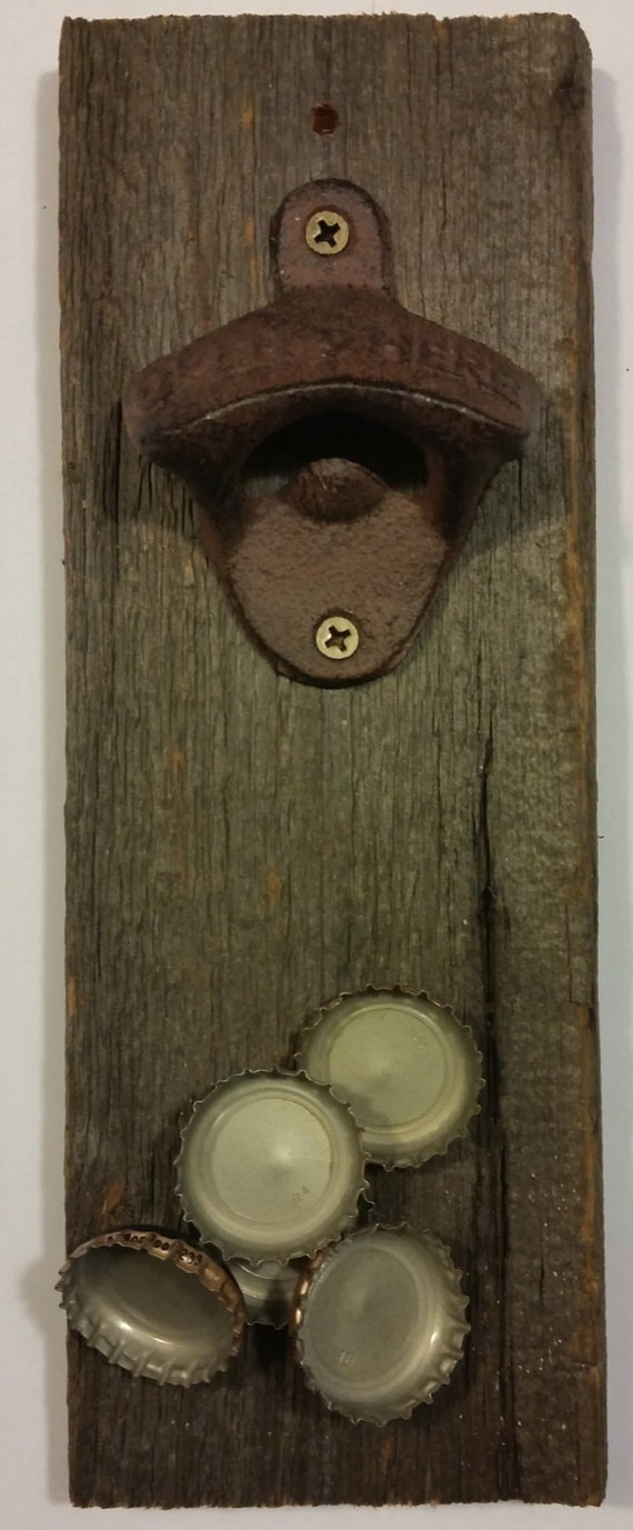 rustic bottle opener with magnetic cap catcher wall mount. Black Bedroom Furniture Sets. Home Design Ideas