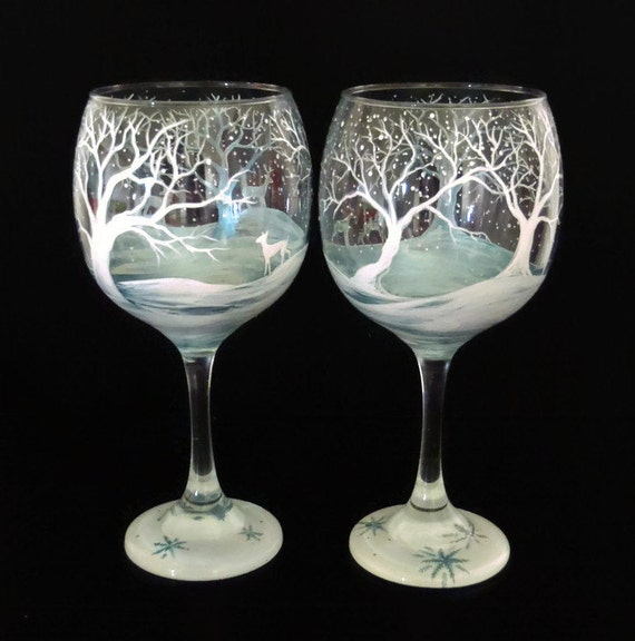 winter wine glass hand painted white reindeer snow capped pine
