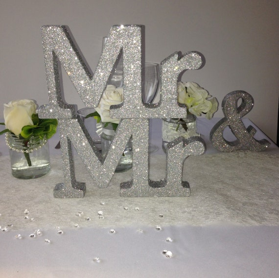 Silver glitter mr mr wedding sign wooden and for Silver letters freestanding