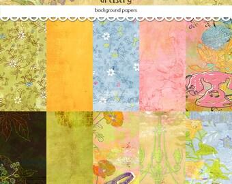 "Digital scrapbooking papers / floral printable background papers / vintage digital collage / instant download / 12"" x 12"""