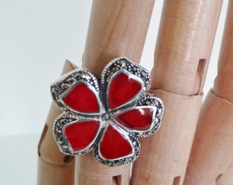 Vintage Silver Ring 1980s Handmade Ring, Turkish Sterling Silver, Carnelian and Black Marcasite Flower Design UK Size 0 1/2 -  P