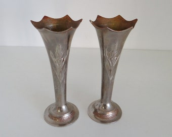 Vintage Silver Vases Pair of Repro Art Nouveau Silver Alloy Bud Vases Fluted Top With Flower Pattern and Stippled Base c.1930's