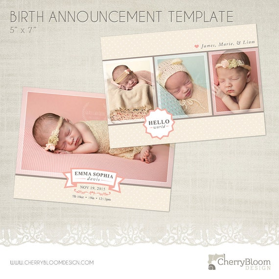 birth announcement card template for photographers ba03. Black Bedroom Furniture Sets. Home Design Ideas