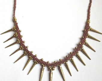 Necklace Brass Spikes Macrame Tribal  brown