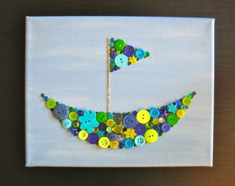 Button & Crystal Sailboat / Art for Kids Rooms / Nursery Decor / Green and Blue / Canvas 8x10