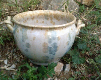 pearl white pottery bowl with handles crystalline glazed